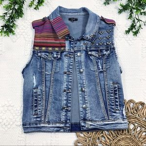 Chiole Distressed Stud & Textile Detail Denim Vest